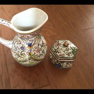 Coimbra pitcher and covered dish